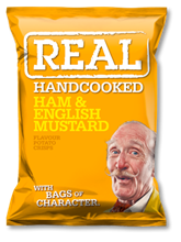 Real Crisps Ham & English Mustard 12x150gr